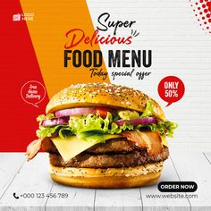 Food Graphic Design, Food Menu Design, Food Poster Design, Poster Design Inspiration, Flyer Design, Poster Background Design, Instagram Post Template, Creative Flyers, Social Trends