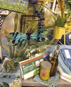 Beautiful Dragonfly Decorative bowl is great on a coffee table or on a plate stand as a piece of art.