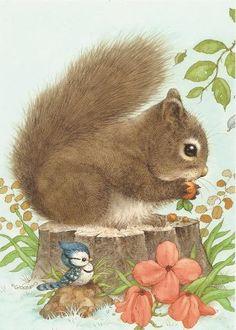 Beautiful illustrations of cute animals Animals And Pets, Baby Animals, Cute Animals, Woodland Creatures, Woodland Animals, Cute Animal Illustration, Illustration Art, Squirrel Illustration, Cute Images