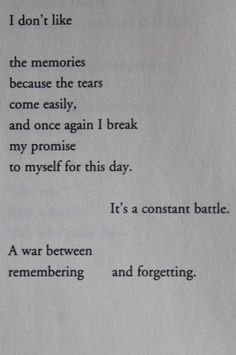 Remembering vs. Forgetting