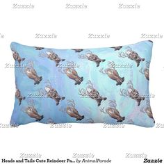 Heads and Tails Cute Reindeer Pattern on Blue Throw Pillow Heads And Tails a631fbf46eefc