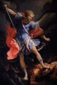 The Archangel Michael defeating Satan, Artist: Guido Reni, Completion Date: 1635, Technique: oil, Material: canvas, Dimensions: 293 x 202 cm, Gallery: Private Collection