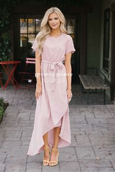 bc552a5b25ec Dusty Pink Wrap Dress, Modest Church Dress, Church Dresses, dresses for  church,