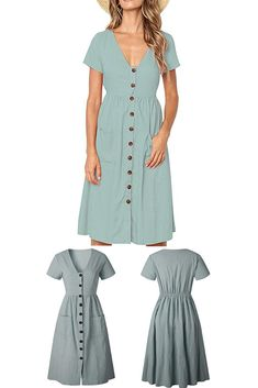 f8e0a0e3b1 Boosouly Women s Summer Short Sleeve V Neck Button Down Casual Midi Dress  with Pockets. LINEN CLOTHING STORE