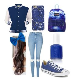"""Blue Day"" by soccerbeast15 on Polyvore featuring Topshop, Essie, JanSport and Converse"