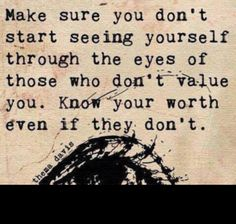 """Make sure you don't start seeing yourself through the eyes of those who don't value you. Know Your worth, even if they don't."" ~ Thema Davis"