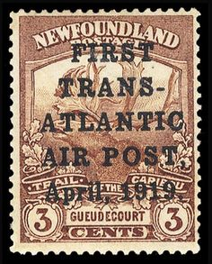 """Марка  Ньюфаундленда  1919 год. (надпечатка """"Первая транс-атлантическая  авиа-почта  1919 год.)  ...$  21 000."""