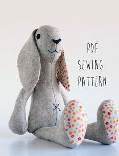 "Rabbit Pattern, sew your own soft toy, finished size is approx 50cm (20"") Instantly Download and Print off your own Raggedy bunny Sewing Pattern. Make your own handcrafted and completely unique soft toy Bunny. This Rabbit in NOT jointed, which makes it easier to make and gives you a"