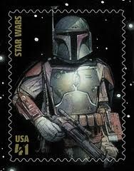 $1 USA postage stamp featuring Boba Fett a character from the Star Wars films