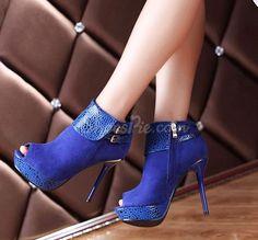 awesome Glaring Blue Nubuck Peep Toe Stiletto Heel Thick Platform Ankle Boots