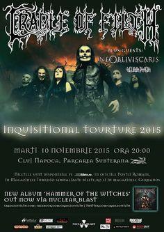 Cradle of Filth / Ne Obliviscaris / Benighted Soul - Live Paris 2015 ~ Psychopathia Melomania Metal Music News, Heavy Metal Music, Manchester Academy, Cradle Of Filth, Tour Posters, Music Posters, Paris 2015, Metal Albums, Wolverhampton
