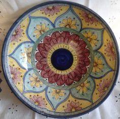 Ciotola/ Insalatiera / Spaghettiera in ceramica.Dipinta a mano.Decoro Geo/Floris. 31 cm, by ilciliegio, 25,00 € su misshobby.com