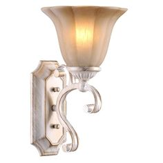 LNC Antique White Iron Wall Sconce Lighting Glass Shade - - Amazon.com  $58