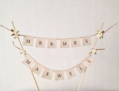 Custom Wedding Cake Topper Bunting Flags by TheLovelyNestShop Wedding Cake Bunting Topper, Diy Cake Topper, Custom Wedding Cake Toppers, Diy Wedding, Wedding Cakes, Wedding Ideas, Wedding Stuff, Engagement Cakes, Wedding Signage