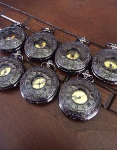 Pocket Watch Set of 7 Gunmetal Gunmetal by PocketwatchKeepsakes, $240.00