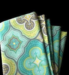 Teal and Citron Clover Cloth Napkins, Set of 4