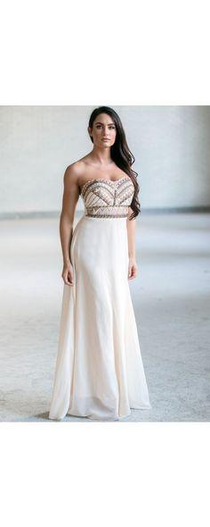 Lily Boutique Native Goddess Beaded Maxi Dress in Cream, $52 Cream Beaded Maxi Dress, Cute Strapless Maxi, Summer Maxi Dress, Online Boutique Dress www.lilyboutique.com