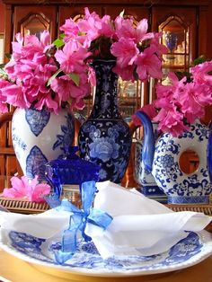 blue-and-white china and pink flowers