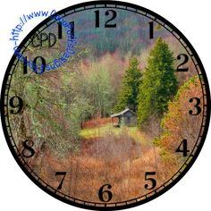"""Fall Forest with a Rustic Cabin Art - -DIY Digital Collage - 12.5"""" DIA for 12"""" Clock Face Art - Crafts Projects by CocoPuffsDesigns on Etsy"""