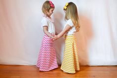 pink chevron maxi skirt... babies toddlers girls by jenylous