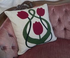 Art Nouveau tulip flower wool felt applique throw pillow/cushion case/cover - vintage linen