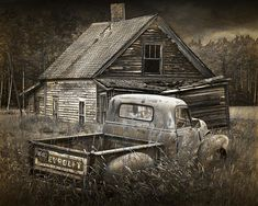 Abandoned Farm House with Chevy Pickup Poster by Randall Nyhof. All posters are professionally printed, packaged, and shipped within 3 - 4 business days. Choose from multiple sizes and hundreds of frame and mat options. Abandoned Farm Houses, Old Farm Houses, Abandoned Cars, Abandoned Places, Abandoned Vehicles, Abandoned Buildings, Chevy Pickup Trucks, Chevy Pickups, Pickup Camper