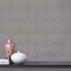 An eye-catching geometric wallpaper design in Charcoal/Rose Gold from the Menali Wallpaper Collection. Available at Go Wallpaper UK. Brick Effect Wallpaper, Wallpaper Uk, Luxury Wallpaper, Contemporary Wallpaper, Rose Gold Glitter Wallpaper, Charcoal Bedroom, Geometric Wallpaper Design, Stunning Wallpapers, Paint Brands