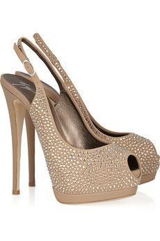 GIUSEPPE ZANOTTI  Embellished suede and leather slingbacks  $1,370