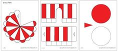 Red and white circus tent template from First Palette. Click here to view other colours: http://www.firstpalette.com/tool_box/printables/circustent.html