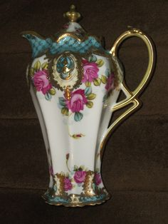 Nippon Chocolate Pot Gold Gild Hand Painted and Roses