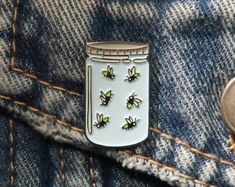 Glow in the Dark Fireflies Jar Pin - Enamel Pin, Lapel Pin. Cute Gift Badge