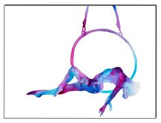 """The balancing lady"" Hoop yoga/Lyra - Fine Art Giclee Print watercolor painting - Lyra gift Aerial Hoop, Aerial Arts, Aerial Silks, Pole Dance, Gymnastics Posters, Circus Art, Watercolor Paintings, Watercolor Paper, Fine Art Prints"