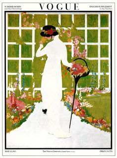 "vintage May 15, 1913 Vogue magazine cover. It is entitled ""Summer Homes and their Furnishings"". Vogue covers reflect the fashion, arts, and society of the period."