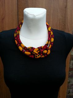 Ankara Rope Necklace Tribal Necklace  by PearlmaCreationz on Etsy