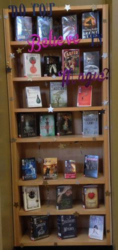Do you believe in magic? library display. Magic books, fantasy books, wizards, ya literature, high school library, Halloween, library display ideas