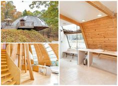 Decked out in wood from tip to toe, this geodesic home in New Paltz, NY is a true architectural & engineering feat. Stacked wood planks & curved windows set into the walls add drama to the 2,300-sq ft abode, while a wooden staircase leading to a lofted library boosts both the beauty & utility of the space. Residents can even rotate the dome by remote control through passive solar energy.