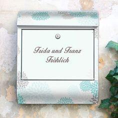 Wunschtext Briefkasten Motiv Eisblumen von banjado via dawanda.com