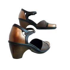 Dansko Mary Jane Cocoa Brown and Copper Bronze // Women Size 36 EU, 7M US // Hand Painted All Leather // Teacher Office Comfort and Design by RetroVintage123 on Etsy