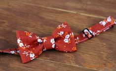 Mens Bow Tie Orange and White Ditzy Flowers on a by becauseimme