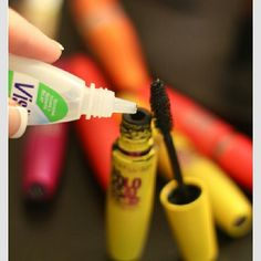 Put a few drops of Visine (or any kind of eye drops) in your mascara and mix it up well. This will make you mascara fresh.