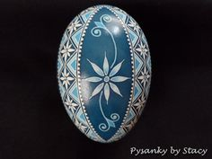 Pysanky Goose Egg Blue and White Flowers