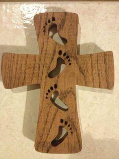"Dad's new cross..... ""He carried me""  Small $30 Large $35 www.testimonyinwood.com"