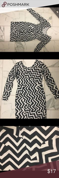 Black and white zigzag open back dress Bodycon style with fun pattern. Heavy cotton (aka not see through ) open back H&M Dresses Midi