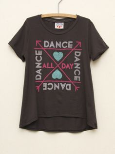 Junk Food Clothing  Kids Girls Dance All Day High Low Tee  $34  www.junkfoodclothing.com