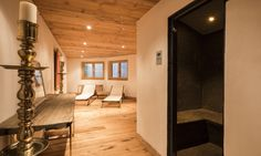 Spa area at Chalet Maurine Ski Lift, Massage Room, Contemporary Decor, Mountain View, Switzerland, Living Spaces, Relax, Sleep, Mirror