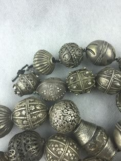 27 RARE Antique SILVER Rare Ethnic Tribal BEADS - Superb Collection 314.2 Grams