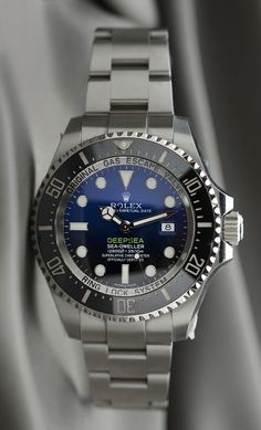 #Rolex #Deepsea 116660 D-Blue dial #swisswatchdealers - From brilliant blue to bottomless black, its two-colour gradient dial celebrates one man's journey to the deepest place on earth: the bottom of the Mariana Trench