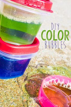 By now, we've all seen those fun color bubbles in stores. But did you know they're super easy to DIY at home with items you already have around the house? They take minutes to make, and they'll revolutionize your outdoor play activities!