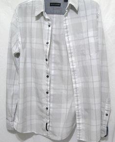 Men's DKNY Jeans Long Sleeve Button Shirt Stripes Plaid White Gray Size S #DKNYJeans #ButtonFront