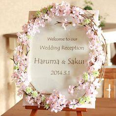桜のリースが素敵♪なウェルカムボード。